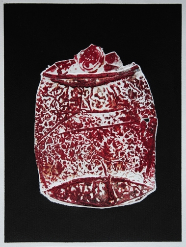 Monoprinting Printmaking Coca Cola Can Object Red Black White
