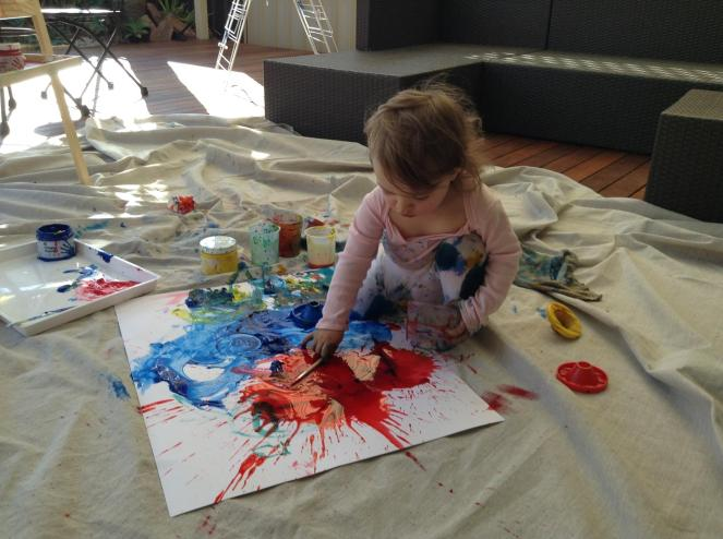 Little Jackson Pollock Splattering Paint