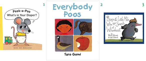 Potty Learning Training Books Peek-a-Poo What's in Your Diaper Everybody Poos The Story of the Little Mole Who Went in Search of Who dunit Guido van Genechten Taro Gomi Werner Holzwarth Wolf Erlbruch