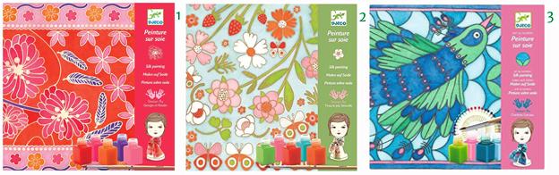 Djeco Silk Painting- Japanese Playset Djeco Silk Painting - Butterflies Playset Djeco Silk Painting- Peacock Playset Silk Scarves Kid Activity