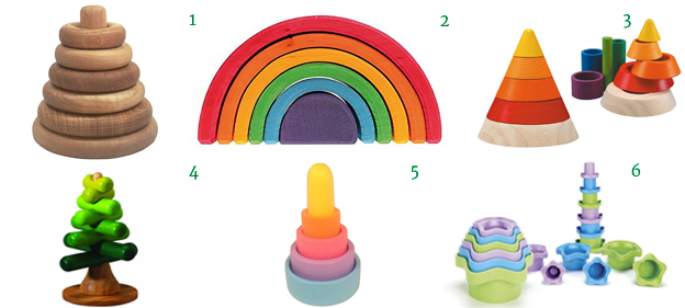 Wooden Ring Stacking Toy Grimm Rainbow Stacker Waldorf Plan Toys Cone Sorting Tree Nesting Pyramid Stacking Cups