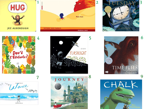 Wordless Picture Books Hug by Jezz Alborough  Mon lion (My lion) Mandana Sadat  Tuesday David Wiesner Flotsam Dov'è l'elefante Bareaux Flashlight by Lizi Boyd  Time Flies by Eric Rohmann Wave by Suzy Lee  Journey by Aaron Becker  Chalk by Bill Thomson