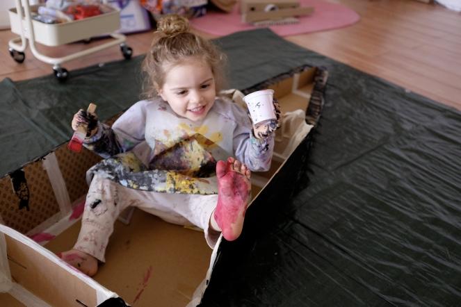 Cardboard DIY Gandola Painted Red Foot