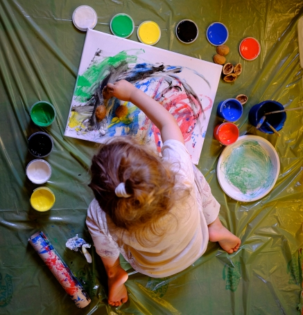 Finger Painting and Walnut Shells on Canvas and Trash bag Mat Disposable Plate Paper Towel Roller