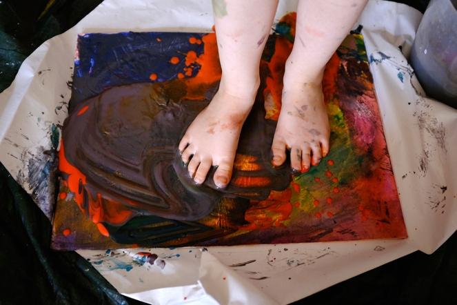 Walking in Acrylic Paint on Canvas Board