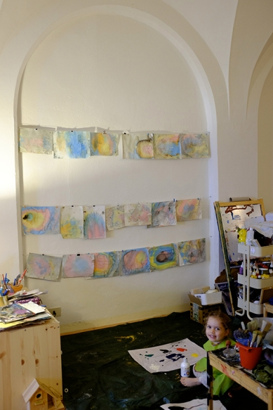Child Artist Studio and Gallery with Suminagashi Paintings on Fabriano Paper