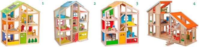 Hape All Seasons Kid's Wooden Doll House  Melissa & Doug Hi-Rise Wooden Dollhouse  Skylar Dollhouse  PlanDollhouse Chalet Dollhouse with Furniture