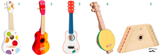 Janod Hape Moulin Roty Plantoys Ukalele Guitar Banjo Harp string instruments for Kids