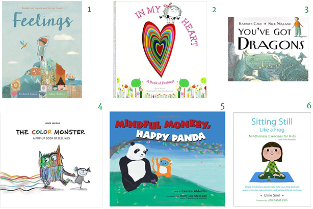 Feelings by Richard Jones and Libby Walden,In My Heart: A Book of Feelings by Jo Witek, Illustrated by Christine Roussey,You've Got Dragons by Kathryn Cave and Nick Maland,The Color Monster: A Pop-Up Book of Feelingsby Anna Leanas,Mindful Monkey, Happy Pandaby Lauren Alderfer, illustrated by Kerry LeeMacLean,Sitting Still Like a Frog: Mindfulness Exercises for Kids (and Their Parents)by Eline Snel emotions mindfulness picture books