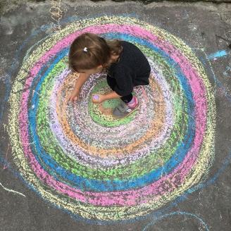 Sidewalk Chalk Concentric Circle