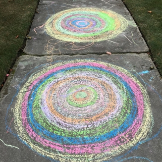 Sidewalk Chalk Concentric Circle