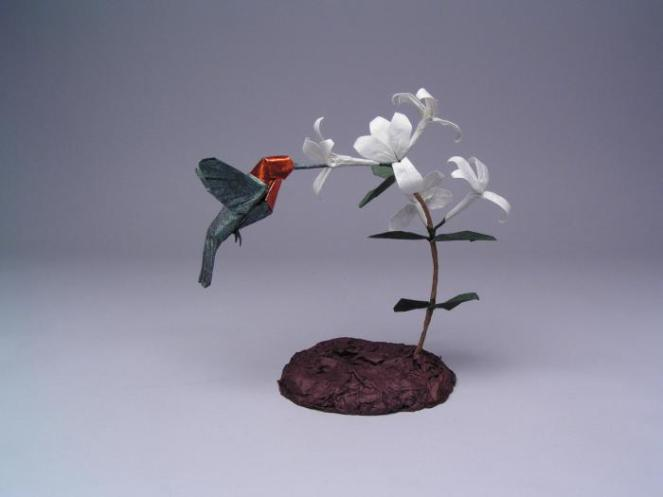 "Created: 2005 Medium: (Bird) One uncut square of backcoated Origamido paper, (plant) Korean hanji and wire Dimensions: 8"" Artists: Robert J. Lang Composition: Anna's Hummingbird, Opus 466 Honeysuckle Blossom, Opus 468"