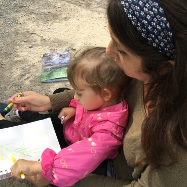 Jessica Wascak drawing with child