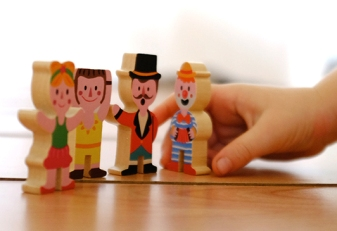 Janod circus wooden characters clown