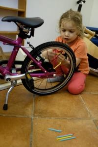 Straws on Bike Spokes Activity Kids