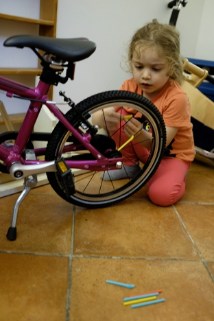 Straws on Bike Spokes Activity Kids