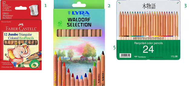 Recycled Natural Non-toxic Color Pencils Faber-Castell Eco-Pencils Lyra Waldorf Giant Colored Pencils Tombow Recycled Colored Pencils