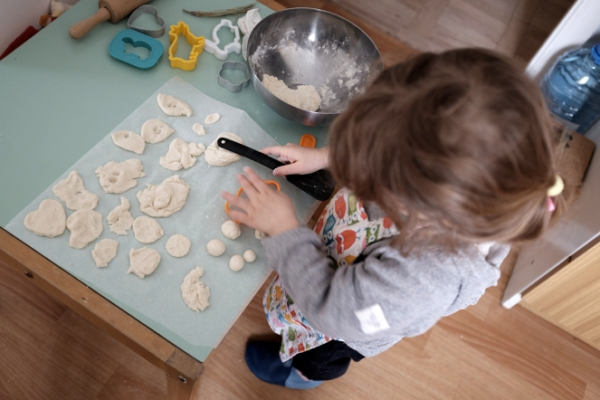 toddler making playdough Ikea bowl